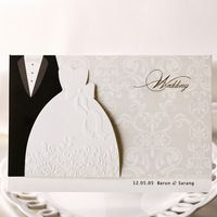 Personalized luxurious embossed Vintage Bride and groom Wedding Invitation card