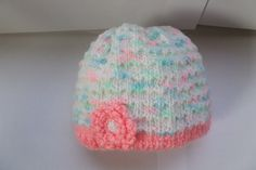 Baby Girl Hat with crocheted flower. Hand knit by HRStuff on Etsy