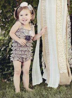 Baby Lace Petti Romper in Grey