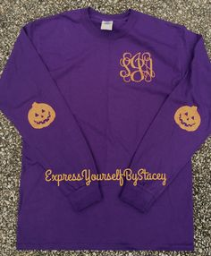 Halloween Monogrammed Tee, elbow patches glitter tee A personal favorite from my Etsy shop https://www.etsy.com/listing/469814559/monogram-halloweentee-elbow-patches-jack