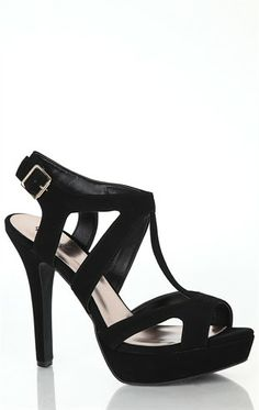 Open Toe Platform Strappy Pump with Cut Out Upper