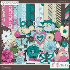 Carefree Digital Scrapbook kit by B2N2 Scraps at Gotta Pixel. www.gottapixel.net/
