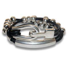 Bracelet femme cuir reptile double tour bordé chaînettes fermoir crochet