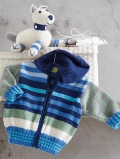 free knitting pattern hooded baby jacket stripes