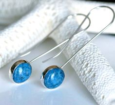 Denim Lapis Earrings  Sterling Silver Wire Drop by CoriluDesigns, $45.00