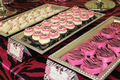 zebra and pink cookie trays