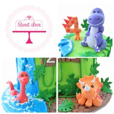 Gorgeous little dinosaur cake toppers - all hand crafted from fondant. Dinosaur Cake Toppers, Dino Cake, Dinosaur Birthday Cakes, 3rd Birthday Cakes, Fondant Toppers, Dinosaur Party, First Birthday Parties, Dinosaur Dinosaur, Mini Tortillas