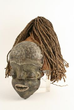 AFRICAN MASK - Pende Tribe, Imitation Rites of Secret Society (now Dem Rep of Congo), carved wood with cloth headdress and raffia hair, hood...