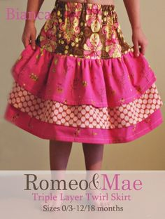 Romeo and Mae offers sewing patterns and tutorials for that are perfect for beginners and advanced beginners. Cute Babies, Baby Kids, Twirl Skirt, Layered Skirt, Indie Brands, Clothing Patterns, Layers, Trending Outfits, Skirts