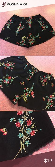Urban Renewal Floral Shorts NEVER WORN Urban Renewal flower shorts! Elastic waistband. Never worn!! In perfect condition. Cute lace trim on the sides and bottom. Not sure what the material is but feels kinda like chiffon. Urban Renewal Shorts