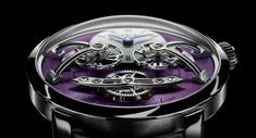 The independent Swiss Watch Brand MB&F has unveiled one new product: the Legacy Machine No. The catch? The purple color! Jewels Clothing, Fashion Jewelry, Purple Gold, White Gold, Swiss Watch Brands, Expensive Watches, Luxury Watches For Men, Ring Earrings, Amp
