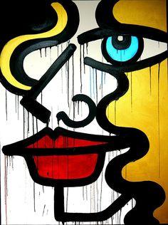 """Miss Van Graffiti Urban street art 24/""""x36/"""" Canvas"""
