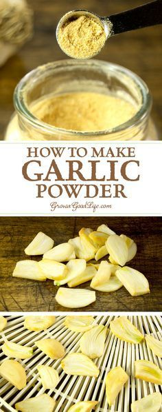 Make your own garlic powder by dehydrating and grinding garlic cloves. If you grow garlic or purchase in bulk and still have an abundance in storage come spring, it may be worth the effort to turn the excess into garlic powder before the cloves go bad. Homemade Seasonings, Homemade Spices, Homemade Food, Do It Yourself Food, Dehydrated Food, Dehydrator Recipes, Spice Mixes, Spice Blends, Canning Recipes