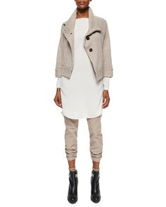 Brunello Cucinelli Cashmere Peacoat Jacket, Long-Sleeve Silk Monili-Detail Tunic & Garment-Dyed Five-Pocket Jeans