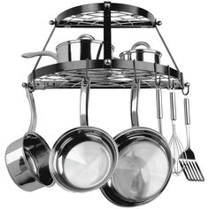 Range Kleen Double Shelf Wall Mount Pot Rack (black) - Not only do pot racks give your kitchen a designer look but they are practical as well.