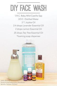 Essential Oils For Face, Tea Tree Essential Oil, Lemon Essential Oils, Young Living Essential Oils, Essential Oil Blends, Essential Oil Spray, Essential Oils Cleaning, Oil Face Wash, Natural Face Wash