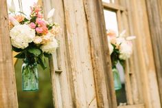 aqua mason jars in the cathedral set up - perfection!   CEREMONY SET UP  Rustic Chic Cathedral Wedding :: Becky+Matt | #Cedarwood Weddings