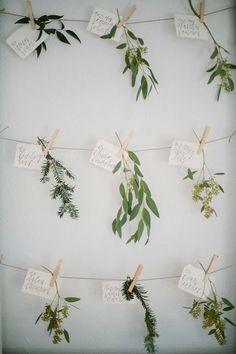 greenery botanical wedding escort card ideas