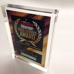 Commissioned specially by What Digital Camera Photographer Magazine, the acrylic award features a full screen graphic inside a clear acrylic block. Acrylic Trophy, Cast Acrylic, Clear Acrylic, Plaque Design, Acrylic Awards, Service Awards, Small Office, Custom Design, Office Ideas