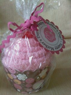 Fuzzy sock cupcake....these would be cute for Valentines or Mothers day.....