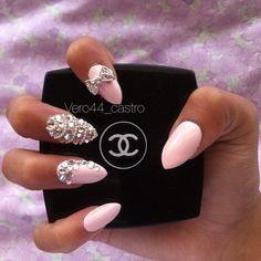 Silver jewels and baby pink.