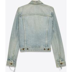 Saint Laurent Original Distressed Jean Jacket ($730) ❤ liked on Polyvore featuring outerwear, jackets, green jacket, yves saint laurent, green denim jacket, collar jacket and distressed denim jacket