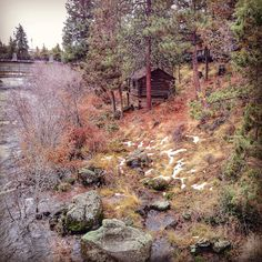 The cabin was used by the Old Sterns Cattle Company as a mine shack in the early 1900s along the Lazy River, south of Sunriver, Oregon.