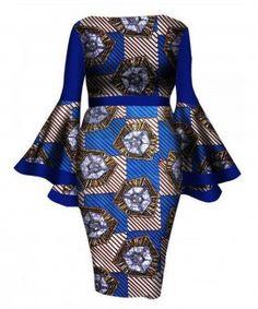 African Women Dress 2017 New Summer Lady Print Wax Dresses Bazin Riche Mid-Calf Africa Sexy Speaker sleeves Dress African Print Dresses, African Dresses For Women, African Attire, African Wear, African Fashion Dresses, Summer Dresses For Women, African Women, Dress Summer, African Style