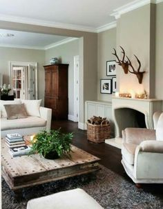 Beautiful room -especially love the giant rustic coffee table.
