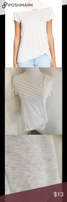 """Gibson Twist Front Stripe Tee Size xs perfect condition except the tiny stitching defect in front on fabric not really noticeable. Smoke pet free home length 25"""" very soft material 100%rayon label inside tee removed Gibson Tops"""