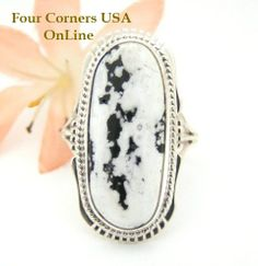 Four Corners USA Online - White Turquoise Elongated Stone Ring Size 8 1/2 Navajo Kathy Yazzie NAR-1503 Native American Silver Jewelry, $112.00 (http://stores.fourcornersusaonline.com/white-turquoise-elongated-stone-ring-size-8-1-2-navajo-kathy-yazzie-nar-1503-native-american-silver-jewelry/)