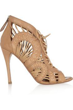 Alaïa Cutout woven leather ankle boots