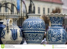 Traditional Rustic Pottery From Romania Stock Photo - Image of motive, craft: 10831882 China Painting, Ceramic Painting, Romanian Girls, Kids Study, Mediterranean Decor, Earthenware, Traditional House, Modern Decor, Blue And White