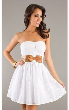 Short White Strapless Dress with Belted Waist MY-5188EL1D
