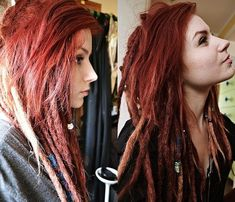 I really want mine to be red mehr synthetic dreadlocks double ended or single ended dreads dread extensions ombre black to brown to blonde Half Dreads, Partial Dreads, Dreadlocks Girl, Synthetic Dreadlocks, Dreads Styles, Hair Styles, White Girl Dreads, Rasta Hair, Beautiful Dreadlocks
