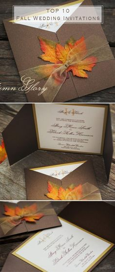 top 10 fall wedding invitations for autumn weddings - Fall Wedding Invitations Cheap