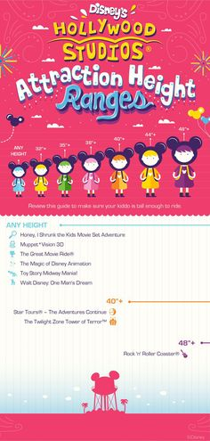 Here's a helpful guide showing Disney's Hollywood Studios height ranges for attractions and rides to get your little ones ready for your Walt Disney World vacation!