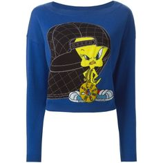 Moschino Tweety intarsia sweater ($555) ❤ liked on Polyvore featuring tops, sweaters, blue, bateau neck sweater, long sleeve sweaters, crop top, blue long sleeve top and boatneck top