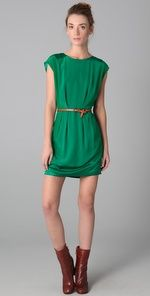 nice look.  belted kelly green short shift dress with ankle boots