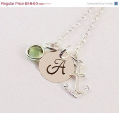 On Sale Sterling Silver Anchor Initial Necklace by LifePopDesigns, $32.40