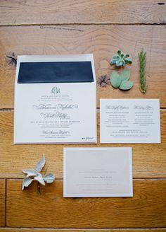 Classic Navy & White Invitations // Mi Belle Photographers // http://blog.theknot.com/2013/09/25/a-desert-chic-wedding-from-mi-belle-photographers/