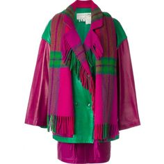 Jc De Castelbajac Vintage coat, skirt and scarf set (£1,130) ❤ liked on Polyvore featuring outerwear, coats, long sleeve coat, checkered coat, multi colored coat, vintage coat and purple coat