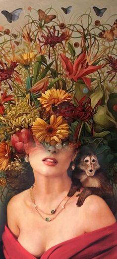 "Antonio Mora - ""Frida Flourishing"" If you are interested in purchasing works of… Digital Collage, Collage Art, Digital Art, Bob Marley, Collages, Spanish Artists, Illustration, Foto Art, Fantastic Art"