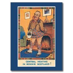 Funny vintage central heating in Bonnie Scotland postcards
