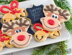 Rudolph The Red-Nosed Reindeer Cookies with Semi Sweet Designs {Guest Post} using bear cutter and sleighbells using butterfly cutter. Christmas Reindeer Cookies, Iced Cookies, Cute Cookies, Cookies Et Biscuits, Cupcake Cookies, Christmas Treats, Christmas Baking, Christmas Cookies, Grinch Cookies