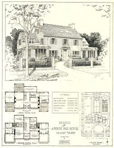 1917 architectural design for a white pine house costing 12,500 USD.  The link includes the scanned floor plans, plot plan and architectural details.