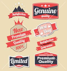 Retro design label set vector - by smithytomy on VectorStock®