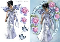 Beautiful Blue Fairy With Blue Roses on Craftsuprint designed by Amy Perry - Beautiful Blue Fairy With Blue Roses in lovely blue frame. also has decoupage and butterflies to decorate - Now available for download!
