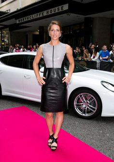 Andrea Petkovic arrives with a Porsche Panamera for the WTA Pre-Wimbledon Party at Kensington Roof Gardens on June 2014 in London, UK Wta Tennis, Mode Rock, Petkovic, Tennis Stars, Porsche Panamera, Wimbledon, Leather Skirt, Celebs, Lady