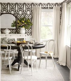white cafe chairs + dark table